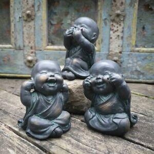 Set of 3 Monk Statues in Bronze Finish | Oriental Indoor + Garden Decor Ornament