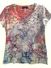 APPROPRIATE BEHAVIOR Multicolored V-Neck S/S Shirt Paisley Mystic Sublimation M
