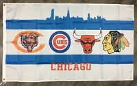 CHICAGO Bears Cubs Bulls Black-hawks Flag 3x5 ft Banner Man-Cave NBA NFL MLB NHL
