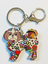 Shih Tzu Dog Pup Acrylic Key Ring Multicolor Floral Brown Keychain Jewelry