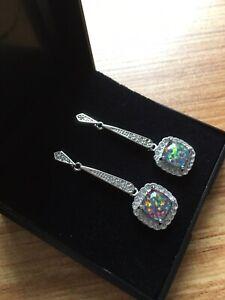 Art Deco Style 925 Silver Drop Dangle Earrings Gilson Fire Opal & Crystals