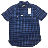 RM Williams Mens Gatton Short Sleeve Shirt Linen Blend Blue Plaid Size S NEW