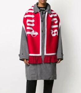 Palm Angels Red Logo Intarsia Scarf | Red / White | 100% Authentic | Knitted