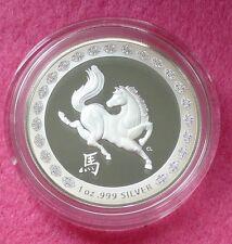 Australia 2014 Plata lunar Año del Caballo $1 moneda de prueba Caja Coa