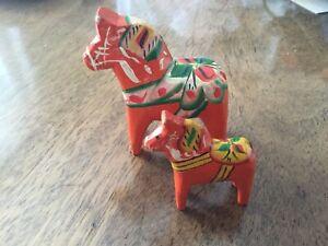 2 Vintage Swedish Dala carved & painted horses