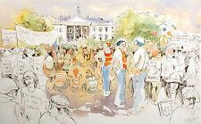"William Papas ""Demonstrators, Washington DC"" Signed Hand Colored Etching Artwork"
