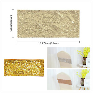 Glitter Sequin Chair Band Shining Party Decoration Sashes Tie Bow Ribbon Wedding
