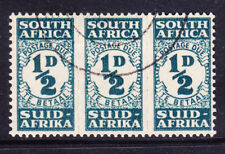SOUTH AFRICA 1944 SGD30 1/2d blue-green strip of 3 Postage Due very f/u cat £65