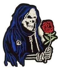 "GRIM REAPER SKELETON with ROSE 3"" x 2.5"" iron on patch Skull applique (Y)"