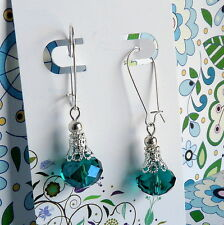 Peacock Green Crystal Silver Filigree Beads Kidney Wire BoHo Style Earrings