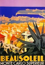 A3 Travel Type Poster Beausoleil Monte Carlo deco print