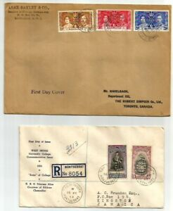 Montserrat, Barbados 2 FDC, Registered cover with Montserrat Inauguration issue