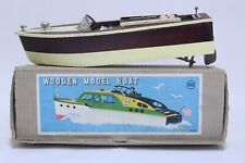 Nice Vintage Japan Rico Battery Operated Wood Model Speed Boat W/ Box