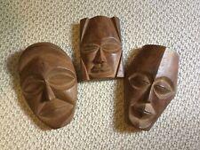 Set of 3 Wooden Hand carved Decorative Vintage Masks, Wall Decor
