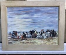 1960s French impressionist oil painting of figures on beach signed E . Boudin