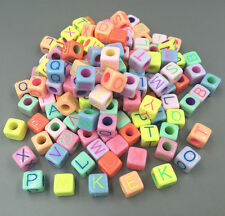 100pcs Mixed-color Cubic Acrylic Letter/ Alphabet Spacer Beads 9 x 9mm