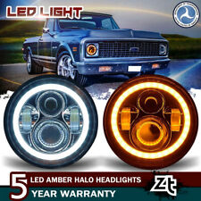 "DOT 1973 1974 1975 Chevrolet Suburban C10 Headlights 7"" Black LED Headlamps Pair"