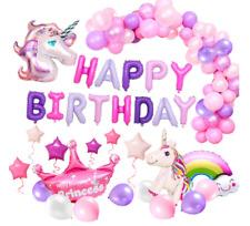 Einhorn Geburtstagsdeko Mädchen Rosa Happy Birthday Banner Set Geburtstag Ballon