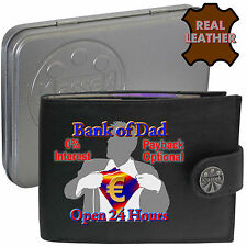 Klassek Bank of Dad EURO Wallet Black Leather Superman Gift Present Fathers Day