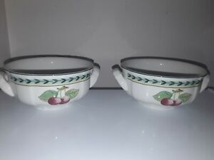 SUPERB Villeroy and Boch French Garden Fleurence Lugged Soup Bowl x 2 new