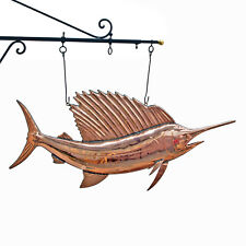 Copper Sail Fish Trade Sign Ocean Sea Fishing Seafood Restaurant Bill Sword
