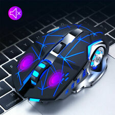 LED Q13 Backlit Gaming Mice Mouse Colorful Luminous Rechargeable Wireless USB CA