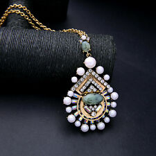 Long Maxi Pendant Necklace Pearl Statement Oval Turquoise Vintage Gold Jewelry