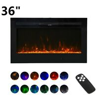 """36"""" Wall Mount Electric Fireplace Heater Multi-Color LED Flame with RC 750/1500W"""