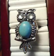 Boho OWL Ring 8-9 Turquoise and Rhinestone large face Indie Costume Jewelry chic