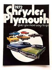 1972 Plymouth Car Brochure Catalog - Barracuda Cuda Hemi Fury Road Runner Duster