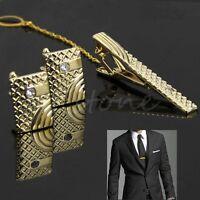Fashion Men Gold Metal Necktie Tie Bar Clasp Clip Cufflinks Sets Simple Gift