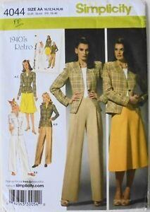 Simplicity 4044 Misses 1940's Retro Skirt Pants Jacket Sewing Pattern Sz 10-18