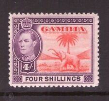 Gambia. GerogeVI 4/-  Multi-colour SG198  Red-Brown  lightly hinged