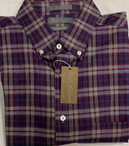 Daniel Cremieux Casual Long Sleeve Shirt Merlot Plaids Size XL Slim Fit $19.50