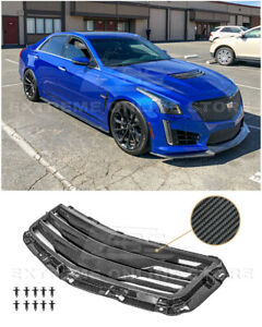 For 16-19 Cadillac CTS-V GM Factory Style CARBON FIBER Hood Vent Louver Cover
