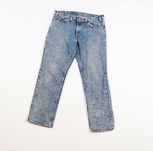 Vintage 80s Levis 305 Orange Tab Womens 33x28.5 Husky Acid Wash Denim Jeans USA