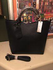 Hynes Victory Black Satchel Vegan Leather Structure Work Ladies Handbag NEW NWTs