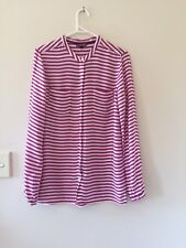 WOMENS TOMMY HILFIGER LONG SLEEVED BLOUSE LONG TOP TUNIC SIZE 10 PURPLE WHITE