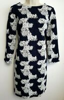 PHASE EIGHT DRESS UK10 NAVY BLUE WHITE FLORAL STRETCH STRAIGHT   #P8/0051