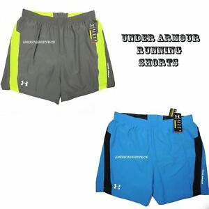 UNDER ARMOUR NEW MEN'S RUNNING SHORTS FITTED STYLE NWT BLUE GRAY HEAT GEAR XXL