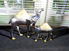 CAMELS MAMA AND BABY POLISHED STAINLESS STEEL WITH GOLD PAINTED DETAILS WOW