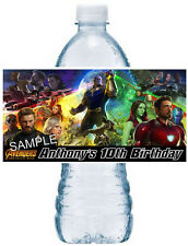 20 ~ AVENGERS INFINITY WAR BIRTHDAY PARTY FAVORS WATER BOTTLE LABELS
