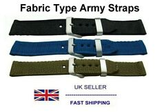 Army Watch Strap Fabric Fits Seiko 7S26-02J0 + Timex Expedition Watches