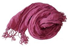 Raspberry Long Crinkled Cotton Scarf (Z404)