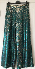 bnwt NEXT WIDE LEG PALAZZO TROUSERS UK 12 STUNNING SEQUINS GREEN GOLD LINED