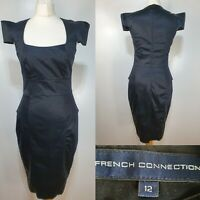 French Connection Sasha Black Bodycon Fitted Pencil Dress Size 12 Dom Power
