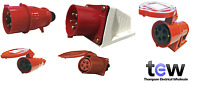 RED 415V 32AMP 5 PIN INDUSTRIAL PLUG & SOCKETS IP44 3 PHASE 3P+N+E