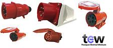 RED 415V 32AMP 5 PIN INDUSTRIAL PLUG & SOCKETS IP44 3 PHASE 3P+N+E CEEFORM