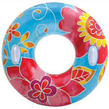 INTEX - Groovy Color Inflatable Tropical Flower Transparent Tube Raft - 38 Inch