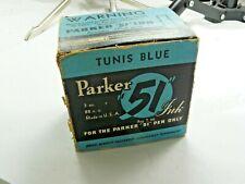 VINTAGE PARKER 51 TUNIS BLUE INK BOTTLE WITH OUTER BOX